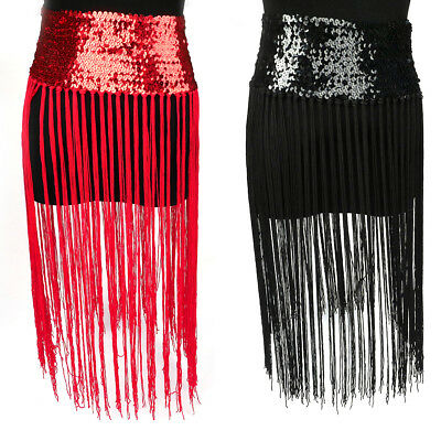 Belly Dance Long Fringe Tassel Skirt Scarf Belt Sequins Shiny Wavy Chain