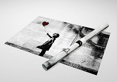 """Banksy - Girl With Balloon. Archival Canvas Print 30""""x20"""""""