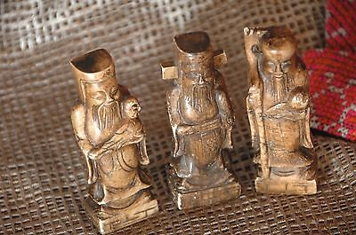 Old Chinese Carved Wiseman Set of Three in Marble …beautiful collection set