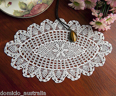 Extreme Fine Yarn Mecerized Cotton Hand Crochet Lace Doily Oval 15x25CM White