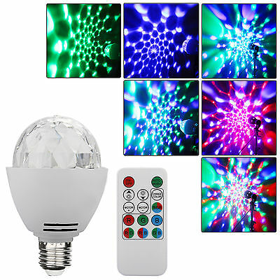 E27 Disco Ball Lamp Colorful Rotating LED Party Bulb Stage Lights,Remote Control
