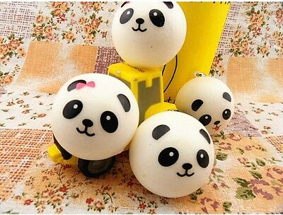 10 Pcs Cute Panda cartoon face Squishy Cell Phone Hang Rope Straps Charms 4CM