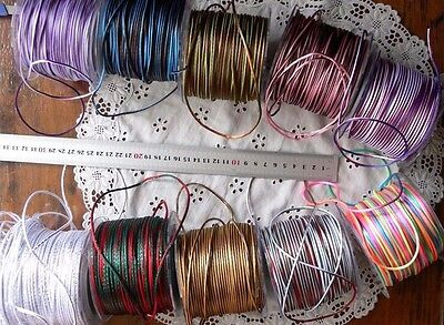 Satin String Striped Ribbon 10 Colour Combos 2mmRnd 5&10 Metre Lengths MultiList