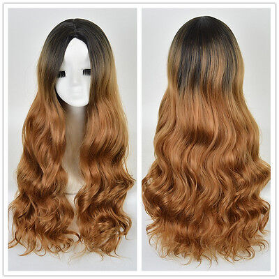 Women Long Mermaid Curly Wig Black Root Blonde Ombre Hair Natural Full Wigs