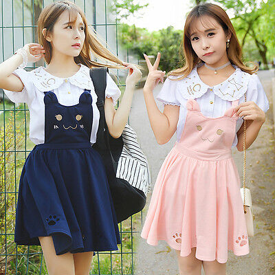 Japanese Lolita Cat Embroidered Princess Sleeveless Dress Lovely Sweetly Girl 1x
