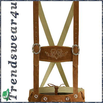 German Bavarian Oktoberfest Trachten Lederhosen Light Brown Special Suspender