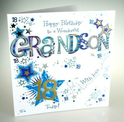 Happy Birthday GRANDSON 18 Today Special LARGE Hand Finished 18th Greeting Card