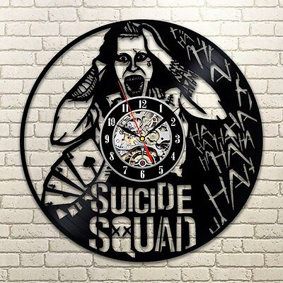 Harley Quinn Suicide squad Joker Figure Movie Comics Action Vinyl Wall Clock
