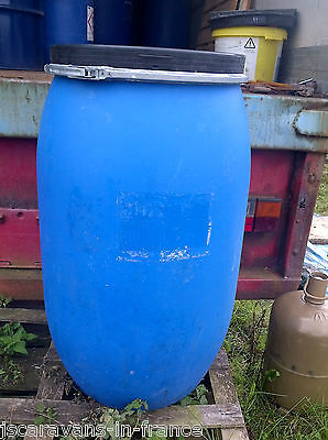 Clean 220 litre plastic water butt drum barrel shipping