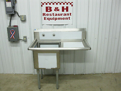 "John Boos 40"" Stainless Steel 18"" One Bowl Prep Sink w/ Right Drain Board"