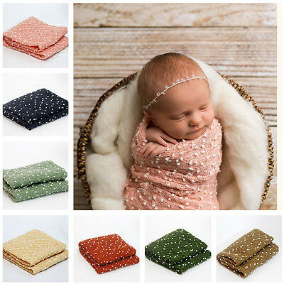 Newborn Baby Stretch Swaddle InfantWrap+Headband  Snow Photography Photo Props