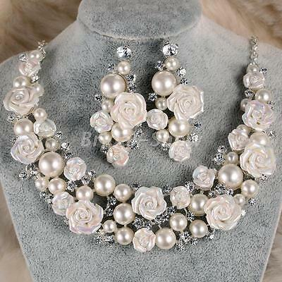 Bridal Ceramic Flower Ivory Pearl Crystal Necklace Earrings Set Wedding Jewelry