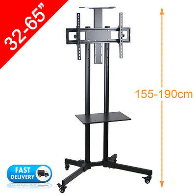 "32-65"" LED PLASMA LCD TV Stand Mount Bracket Mobile Trolley With Wheels + Shelf"