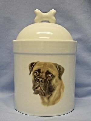 Bullmastiff Dog Porcelain Treat Jar Fired Head Decal on Front 8 In Tall