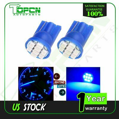 2x T10 194 3020 Blue LED Side Wedge Instrument Climate Control Lights For Toyota