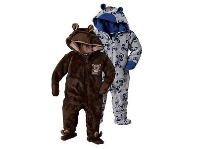 Lupilu Baby Girls Boys Brown Baby All In One Soft Fleece Hood And Ears Jumpsuit