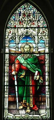 Incredible Antique Gothic Stained Glass Church Religious Window Of St. Paul - Jj