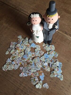 1000 Romantic Vintage European  Map Paper Heart Wedding Table Confetti-1.5cm