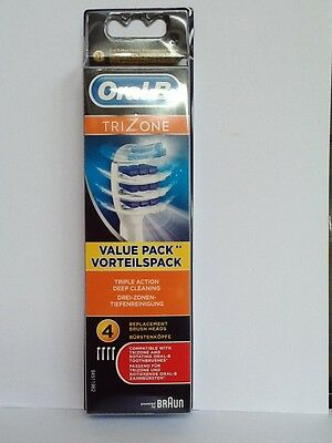 Oral-B TriZone TRIPLE ACTION DEEP CLEANING  REPLACMENT HEADS PKT 4 100%GENUINE