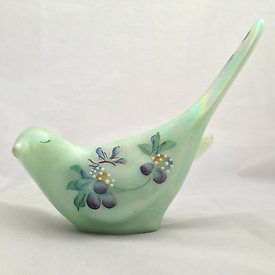 FENTON hand painted Green Custard Glass Bird / Dove Figurine- signed & Label