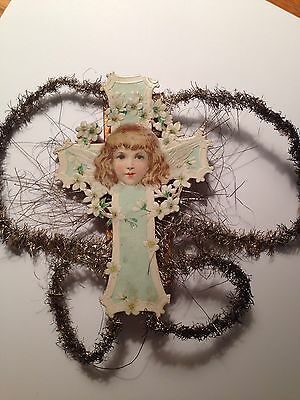 Angel On Cross Scrap And Tinsel  Christmas Ornament