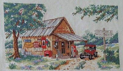 Yesteryear Cross Stitch Completed Unframed Sunset Design Garage Gas Station