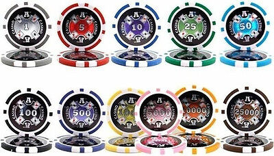 NEW 50 PC (2 Rolls) Ace Casino 14 Gram Clay Poker Chips You Pick Denominations