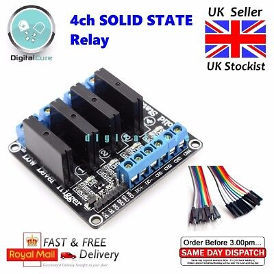 4 Channel 5V OMRON G3MB-202P SSR Solid State Relay Module with Fuse - Arduino Pi