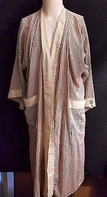 Mens Vintage HALSTON Robe Striped One Size Fits Most Cotton Long Brown Ivory