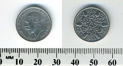 GREAT BRITAIN 1933 - 6 Pence Silver Coin - King George V