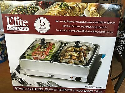 5 Quart Two Section Kitchen Living Buffet Server Warming Tray Stainless Steel