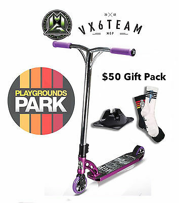MGP VX6 TEAM scooter + $50 Gift pack, 2016 Purple / Chrome Madd Gear