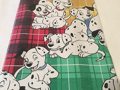 DISNEY 101 Dalmations Vintage TWIN FLAT FLANNEL Bed Sheet Cartoon Dog Material