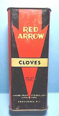 """Vintage """"RED ARROW"""" Brand Cloves Spice Tin   FREE SHIPPING"""