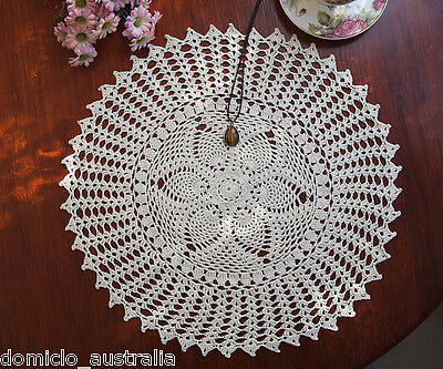 Hand Crochet Lace Pineapple Floral Doily Placemat Topper Round 50CM Ecru FP03