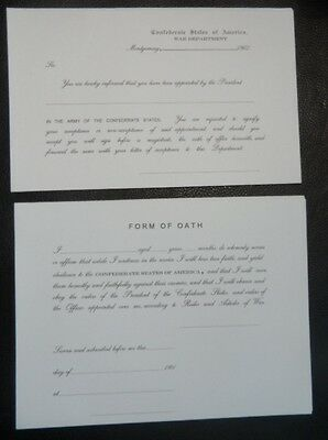 Civil War Confederate Officers Commission & Oath Form set, 1861-1865 replica