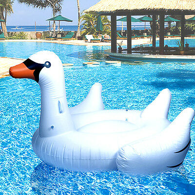 """HUGE 75"""" Inflatable Rideable Swan Inflatable Float Toy Pool Giant Swan Float WH"""