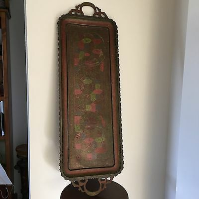 Vintage Etched & Painted Indian Brass Serving Tray