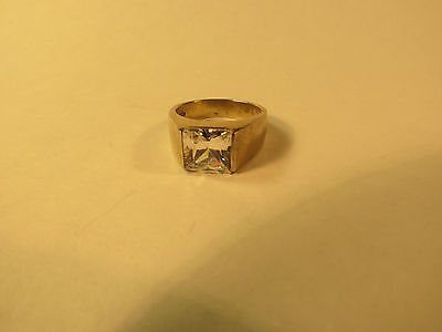 Sterling Silver, vintage, man's ring. Decorated with Cubic Zirconia.