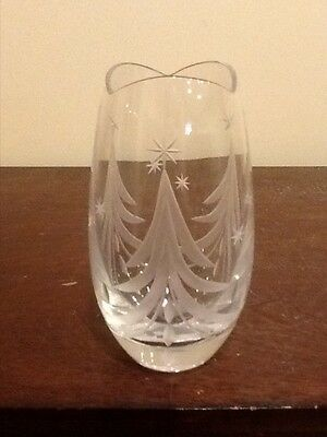 Mikasa Slovenia Crystal Vase With Etched Christmas Trees