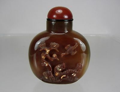 Late 19th Century Carved Banded Agate Snuff Bottle,Foo-Dog Lion under Pine Tree