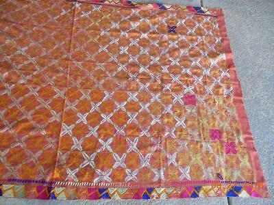ANTIQUE  INDIAN PUNJABI PHULKARI BAGH TEXTILE COVER  SILK EMBROIDERY 89 x 54""