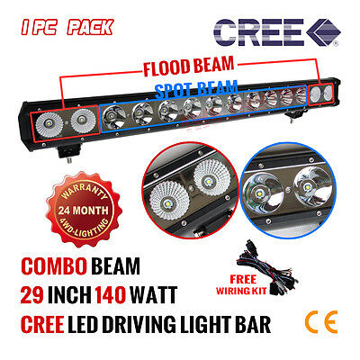 29Inch 140W Cree Led Light Bar Flood Spot Combo Offroad Work Lamp 10W Auto Lamp