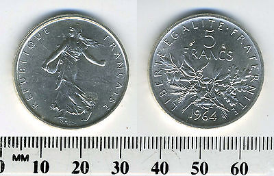 France 1964 - 5 Francs Silver Coin - Figure sowing seed - #1