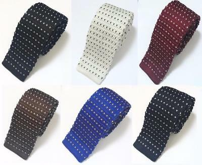 Fashion Men's Polka Dot Heart Knit Knitted Tie Slim Skinny Woven UK