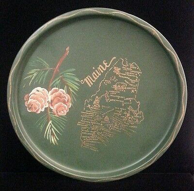 "Vintage MAINE Tole Painted Souvenir Tray ~ Green w/ Pinecones & State Map ~ 11""w"
