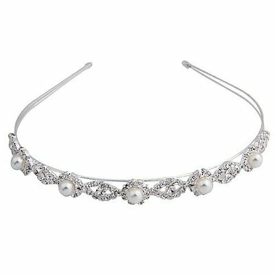 "Silver Plated Faux Pearl Rhinestone Wedding Headband Tiara Hair Band 0.55"" T1"