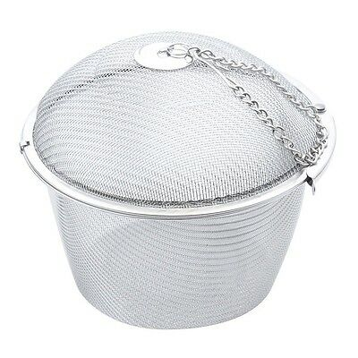Extra Large Stainless Steel Twist Lock Mesh Tea Ball Infuser with Hook Chain BF