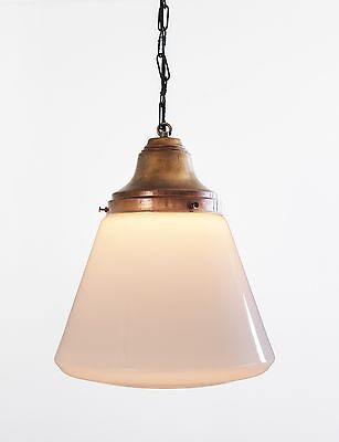 Vintage Schoolhouse Pendant Light with copper fittings from Denmark
