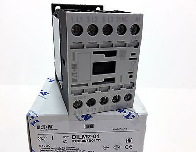 Moeller Eaton DILM7-01(24VDC) Contactor 3kW/400V AC3+1NC 276600